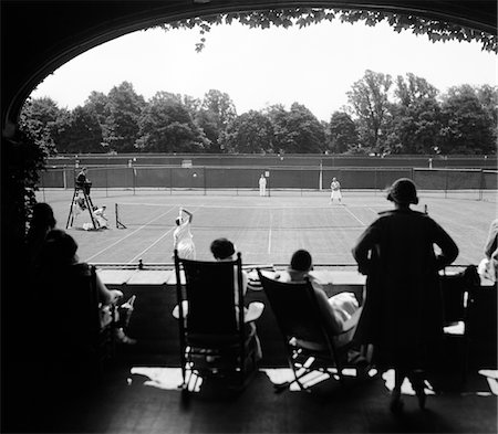 silhouette black and white - 1920s - 1930s SILHOUETTED SPECTATORS WATCHING TENNIS MATCH AT COUNTRY CLUB Stock Photo - Rights-Managed, Code: 846-05647957