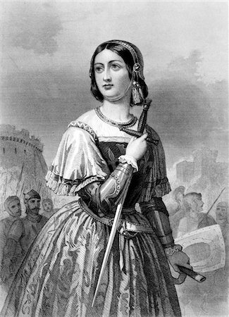 1400s - 1430s JOAN OF ARC MAID OF ORLEANS MILITARY LEADER HEROINE HOLDING SWORD Stock Photo - Rights-Managed, Code: 846-05648013