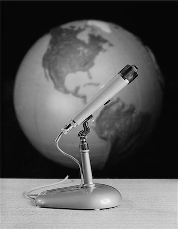 1960s - 1970s STILL LIFE BROADCAST MICROPHONE BACKGROUND GLOBE EARTH Stock Photo - Rights-Managed, Code: 846-05648063