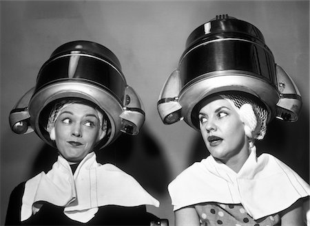 retro beauty salon images - 1950s TWO WOMEN SITTING TOGETHER GOSSIPING UNDER HAIRDRESSER HAIR DRYER Stock Photo - Rights-Managed, Code: 846-05648409