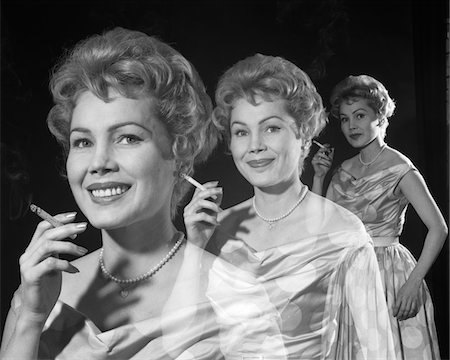 1950s MULTIPLE EXPOSURE OF SMILING WOMAN SMOKING A CIGARETTE 3 SEPARATE VIEWS Stock Photo - Rights-Managed, Code: 846-05648464