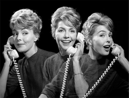 1960s SMUG SMILING EXCITED WOMAN TALKING GOSSIPING ON PHONE IN THREE DIFFERENT VIEWS SUPERIMPOSED Stock Photo - Rights-Managed, Code: 846-05648463
