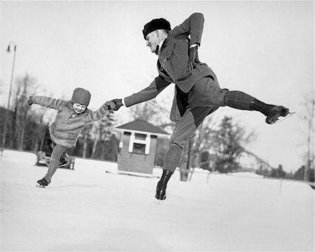 simsearch:846-02793283,k - 1920s MAN FATHER AND LITTLE GIRL DAUGHTER ICE SKATING OUTDOORS IN WINTER Stock Photo - Rights-Managed, Code: 846-05648520