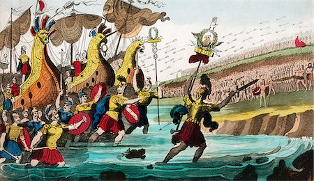 JULIUS CAESAR AND ROMAN TROOP SHIPS LANDING IN GREAT BRITAIN 55 B.C. Stock Photo - Rights-Managed, Code: 846-06112054