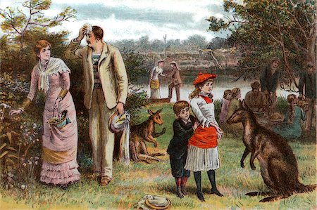 1800s 1880s 1881 SUMMER PICNIC SCENE KANGAROOS CHRISTMAS DAY IN AUSTRALIA Stock Photo - Rights-Managed, Code: 846-06112066