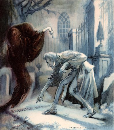 SCENE FROM CHARLES DICKENS CHRISTMAS CAROL EBENEZER SCROOGE WITH GHOST OOF CHRISTMAS FUTURE AT CEMETERY GRAVE Stock Photo - Rights-Managed, Code: 846-06112067