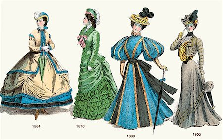 pretty draw - LATE VICTORIAN LADIES FASHION 19TH CENTURY FROM 1864 HOOP SKIRT 1870 BUSTLE 1880 BALLOON SLEEVE 1900 WASP WAIST Stock Photo - Rights-Managed, Code: 846-06112062