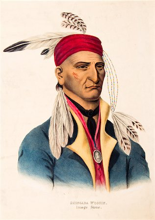 1800s PORTRAIT OF CHIPPEWA CHIEF IMAGE STONE OR SHINGABA W'OSSIN SIDED WITH THE BRITISH IN WAR OF 1812 Stock Photo - Rights-Managed, Code: 846-06112074