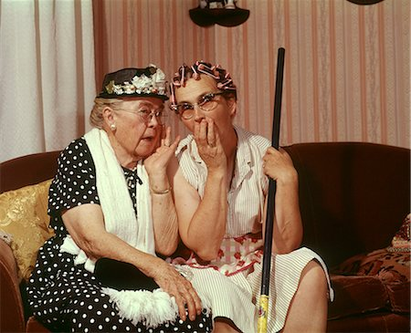 1960s TWO SENIOR OLDER WOMEN SITTING ON SOFA GOSSIPING Stock Photo - Rights-Managed, Code: 846-06112110
