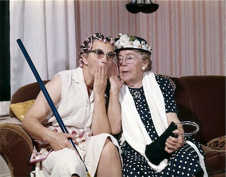 1960s TWO SENIOR OLDER WOMEN SITTING ON SOFA GOSSIPING Stock Photo - Rights-Managed, Code: 846-06112111