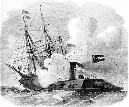 ram (animal) - 1800s 1860s MARCH 8 1862 USS CUMBERLAND BEING RAMMED SUNK BY THE CONFEDERATE SHIP VIRGINIA FORMERLY MERRIMAC Stock Photo - Rights-Managed, Code: 846-06112249