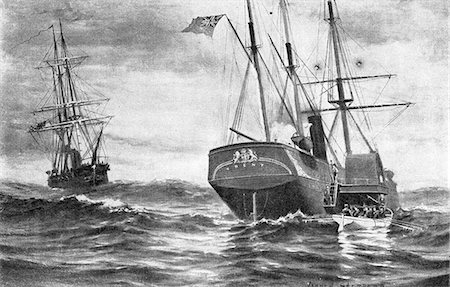 1800s 1861 THE TRENT AFFAIR CREW OF SAN JACINTO AMERICAN WARSHIP BOARDS BRITISH VESSEL AND TAKES TWO PRISONERS MASON AND SLIDELL Stock Photo - Rights-Managed, Code: 846-06112312