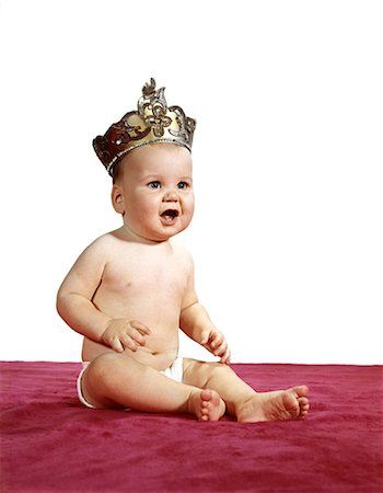 1960s SITTING BABY WEARING CROWN TIARA AND DIAPER KING OR QUEEN Stock Photo - Rights-Managed, Code: 846-08030376
