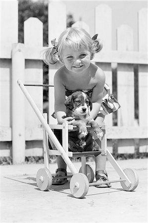 1950s SMILING GIRL WITH BLONDE PIGTAILS LOOKING AT CAMERA PUTTING SPRINGER SPANIEL DOG PUPPY INTO DOLL BABY CARRIAGE Stock Photo - Rights-Managed, Code: 846-08721083