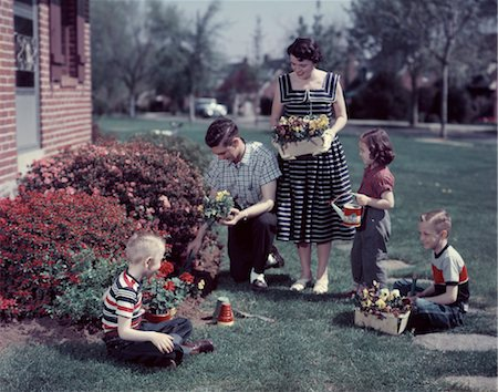 1950s SUBURBAN FAMILY GARDENING TOGETHER IN THE SPRINGTIME Stock Photo - Rights-Managed, Code: 846-02794261