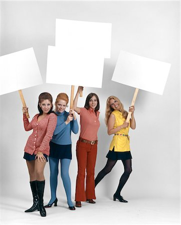 right - 1960s FOUR WOMEN PROTESTERS HOLDING BLANK SIGNS Stock Photo - Rights-Managed, Code: 846-02794313