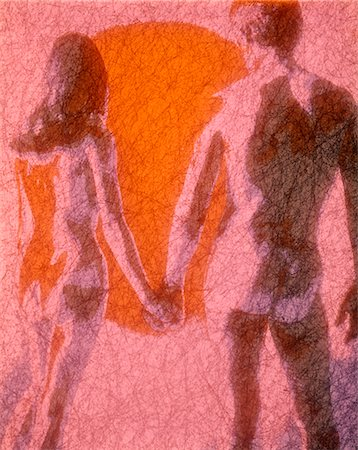 1970s RETRO COUPLE MAN WOMAN NUDE ILLUSTRATION Stock Photo - Rights-Managed, Code: 846-02795189