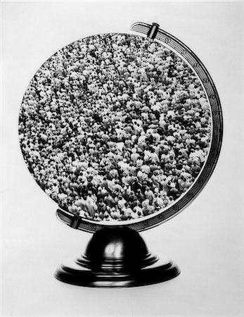 1960s GLOBE ON STAND WITH SHOT OF LARGE CROWD SUPERIMPOSED OVER MAP Stock Photo - Rights-Managed, Code: 846-02795599
