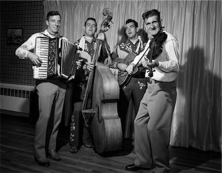 1950s FOUR-PIECE BAND WITH ACCORDION STAND-UP BASS GUITAR & FIDDLE Stock Photo - Rights-Managed, Code: 846-02795648