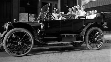 1910s 1920s LARGE GROUP OF LITTLE GIRLS IN WHITE DRESSES PACKED INTO A PARKED CONVERTIBLE TOURING AUTOMOBILE Stock Photo - Rights-Managed, Code: 846-02795654