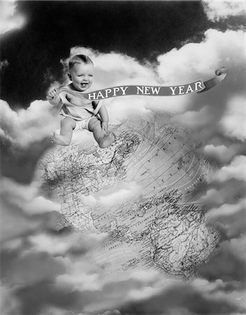 1930s MONTAGE BABY SITTING ON TOP OF THE WORLD EARTH GLOBE IN CLOUDS HOLDING HAPPY NEW YEAR BANNER Stock Photo - Rights-Managed, Code: 846-02795683