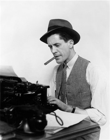 1930s MAN NEWSPAPER REPORTER WEARING HAT TYPING SMOKING CIGAR Stock Photo - Rights-Managed, Code: 846-02795780