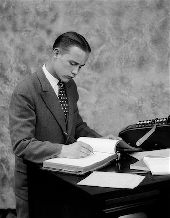 1920s 1930s MAN PENCIL ACCOUNTING SUIT PENCIL BOOKS Stock Photo - Rights-Managed, Code: 846-02796025
