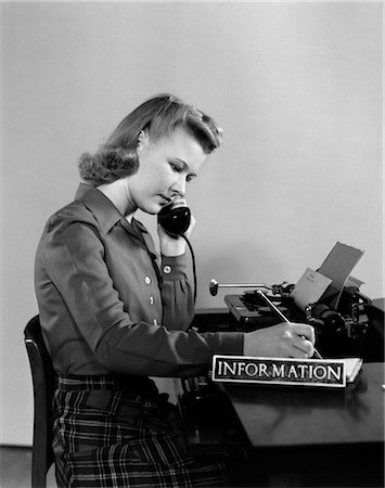 secretary desk - 1940s WOMAN INFORMATION DESK RECEPTIONIST TELEPHONE ANSWER Stock Photo - Rights-Managed, Code: 846-02796027