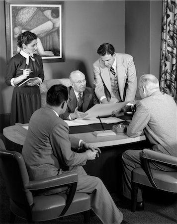secretary desk - 1950s MEETING DESK BUSINESS SECRETARY WOMAN MEN Stock Photo - Rights-Managed, Code: 846-02796031