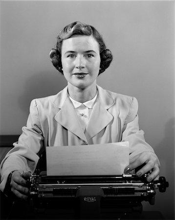 secretary desk - 1950s WOMAN TYPEWRITER DESK SECRETARY SUIT Stock Photo - Rights-Managed, Code: 846-02796057