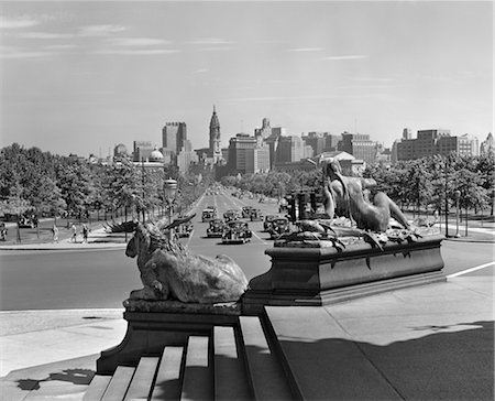 1940s VIEW OF PHILADELPHIA SKYLINE & STREET TRAFFIC FROM ART MUSEUM Stock Photo - Rights-Managed, Code: 846-02796139