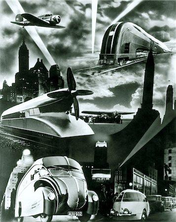 silhouette black and white - 1930s FUTURISTIC ART DECO STREAMLINE DESIGN MODES OF MODERNE CAR TRAIN PLANE TRUCK TRANSPORTATION Stock Photo - Rights-Managed, Code: 846-02796348
