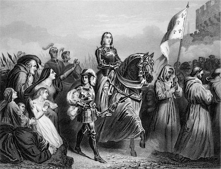 ENTRY OF JOAN OF ARC INTO ORLEANS 1429 FRENCH SAINT WOMAN MILITARY LEADER HEROINE CATHOLIC MAID OF ORLEANS JEANNE D'ARC Stock Photo - Rights-Managed, Code: 846-02796407