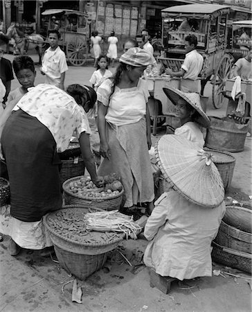1930s 1940s GROUP OF WOMEN IN NATIVE FOOD VEGETABLE MARKET MANILA PHILIPPINE ISLANDS PHILIPPINES Stock Photo - Rights-Managed, Code: 846-02796409