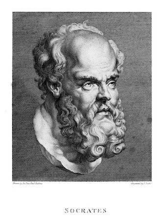 DRAWING OF A BUST OF SOCRATES GREEK PHILOSOPHER TEACHER INITIATED QUESTION & ANSWER METHOD OF SELF KNOWLEDGE BEARD CLASSICAL Stock Photo - Rights-Managed, Code: 846-02796428