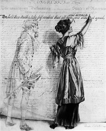 1900s DRAWING WOMAN INSERTING WRITING WORDS AND WOMEN INTO DECLARATION OF INDEPENDENCE AS GHOST OF THOMAS JEFFERSON LOOKS ON Stock Photo - Rights-Managed, Code: 846-02796457