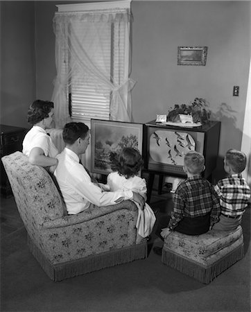 1950s FAMILY WITH 3 CHILDREN WATCHING TV Stock Photo - Rights-Managed, Code: 846-02796589