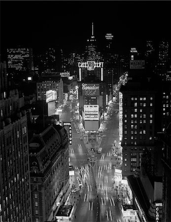 1950s 1960s NIGHT AERIAL VIEW TIMES SQUARE FROM TIMES BUILDING LOOKING NORTH MANHATTAN Stock Photo - Rights-Managed, Code: 846-02796582