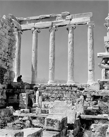 1960s GREEK COLUMNS ARCHITECTURE RUINS CLASSIC TOURIST PERSON READING BOOK BEFORE RESTORATION PARTHENON ATHENS ACROPOLIS Stock Photo - Rights-Managed, Code: 846-02796667