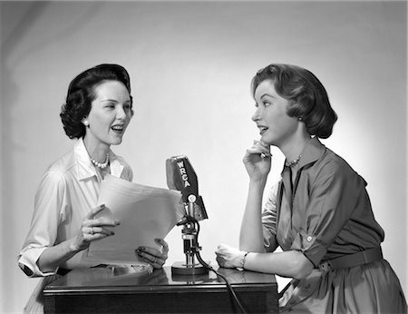 right - 1950s TWO WOMEN DOING RADIO BROADCAST INDOOR Stock Photo - Rights-Managed, Code: 846-02796674