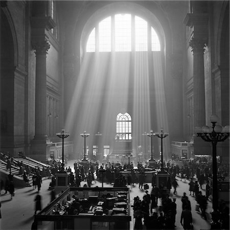 1940s INTERIOR PENNSYLVANIA STATION NEW YORK CITY WITH SUN RAYS STREAMING IN WINDOW Stock Photo - Rights-Managed, Code: 846-02796689