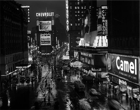 1950s TIMES SQUARE NIGHT FROM TIMES BUILDING UP TO DUFFY SQUARE NEON SIGNS BROADWAY GREAT WHITE WAY Stock Photo - Rights-Managed, Code: 846-02796683