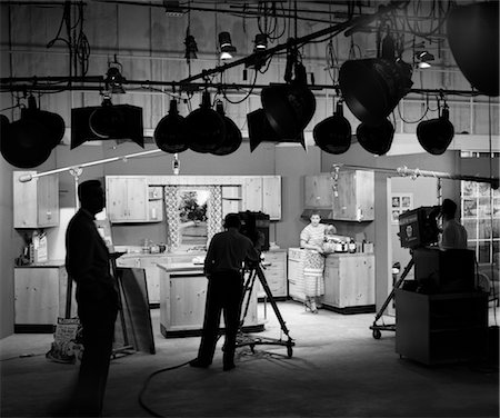 set - 1950s BEHIND THE SCENES OF FILMING A COOKING SHOW Stock Photo - Rights-Managed, Code: 846-02796743