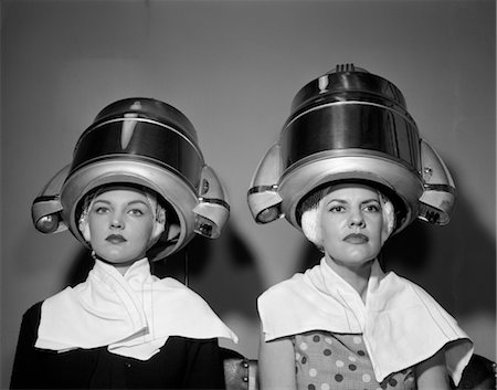 retro beauty salon images - 1950s TWO WOMEN UNDER HAIR DRYERS TOWELS AROUND SHOULDERS HAIR NETS Stock Photo - Rights-Managed, Code: 846-02797526