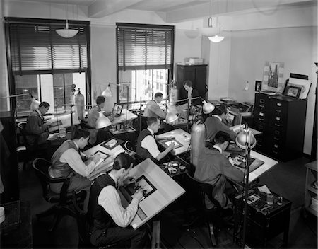 1930s COMMERCIAL ARTISTS AT WORK IN STUDIO ON DRAFTING TABLES Stock Photo - Rights-Managed, Code: 846-02791718