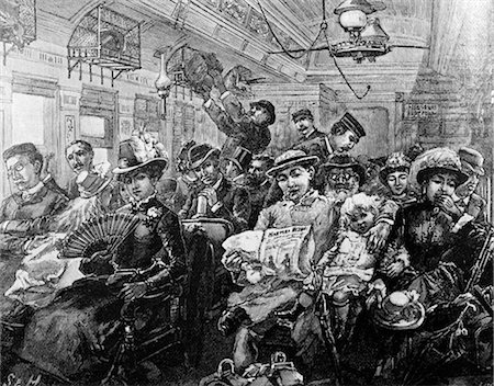 1880s ILLUSTRATION CROWDED PASSENGER CAR RAILROAD COACH TRAVEL 19TH CENTURY TRAIN AMERICA FROM HARPERS MAGAZINE AUGUST 1885 Stock Photo - Rights-Managed, Code: 846-02791749