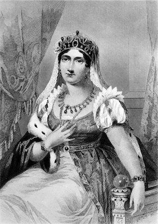 JOSEPHINE WIFE OF NAPOLEON BONAPARTE SEATED WEARING EMPIRE STYLE GOWN ERMINE TRIM NECKLACE & CROWN Stock Photo - Rights-Managed, Code: 846-02791773