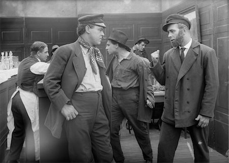 saloon - MEN IN WESTERN SALOON ABOUT TO ENGAGE IN BAR FIGHT Stock Photo - Rights-Managed, Code: 846-02791837