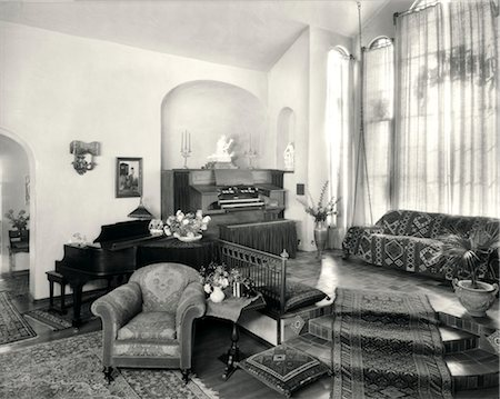retro beauty salon images - 1920s INTERIOR UPSCALE MUSIC ROOM WITH PIANO AND ORGAN Stock Photo - Rights-Managed, Code: 846-02791867