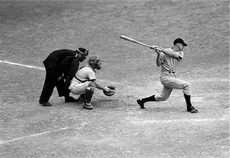 1940s 1950s BATTER SWINGS STRIKE AT HOME PLATE ATHLETICS AND WASHINGTON SEPTEMBER 3 1947 Stock Photo - Rights-Managed, Code: 846-02791934
